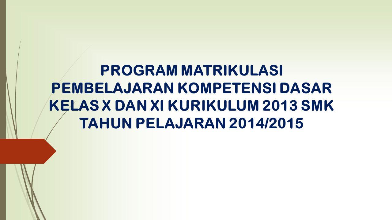 PROGRAM MATRIKULASI PEMBELAJARAN KOMPETENSI DASAR KELAS X DAN XI KURIKULUM 2013 SMK TAHUN PELAJARAN 2014/2015