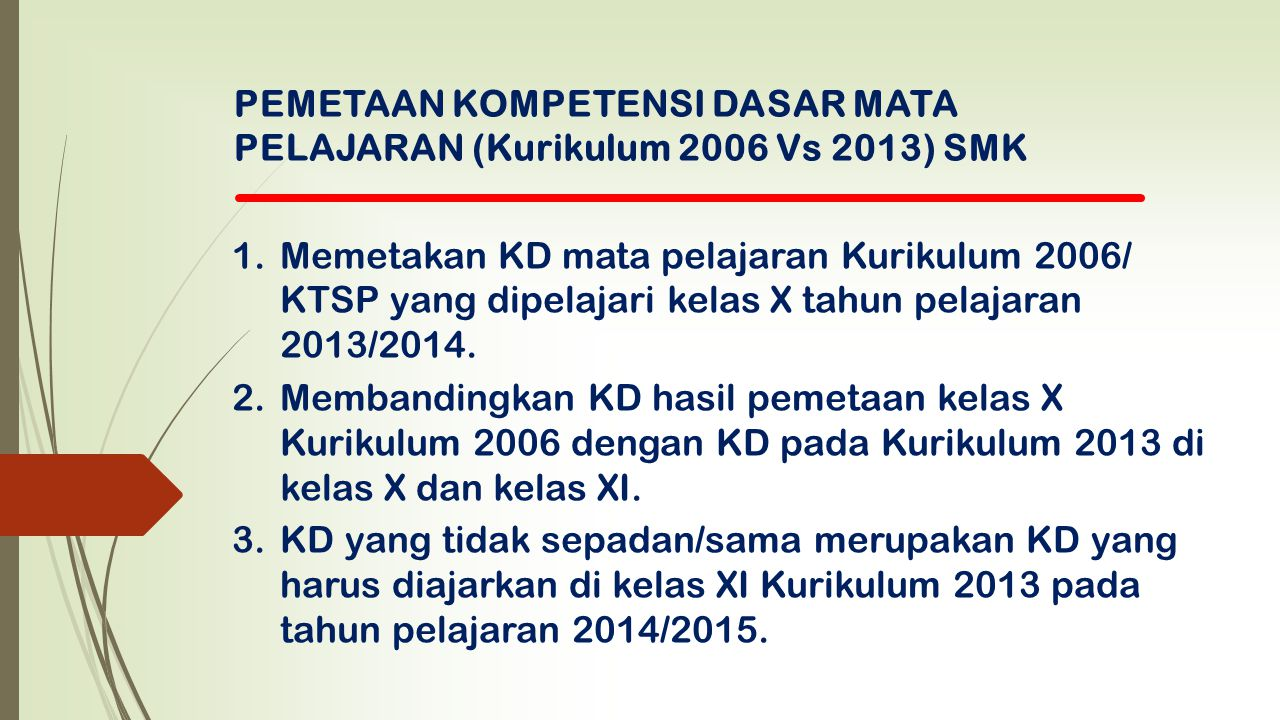 PEMETAAN KOMPETENSI DASAR MATA PELAJARAN (Kurikulum 2006 Vs 2013) SMK