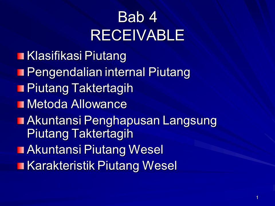 Bab 4 RECEIVABLE Klasifikasi Piutang Pengendalian internal Piutang