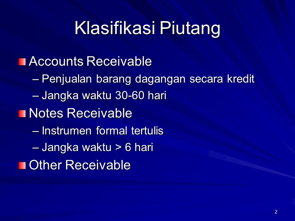 Klasifikasi Piutang Accounts Receivable Notes Receivable