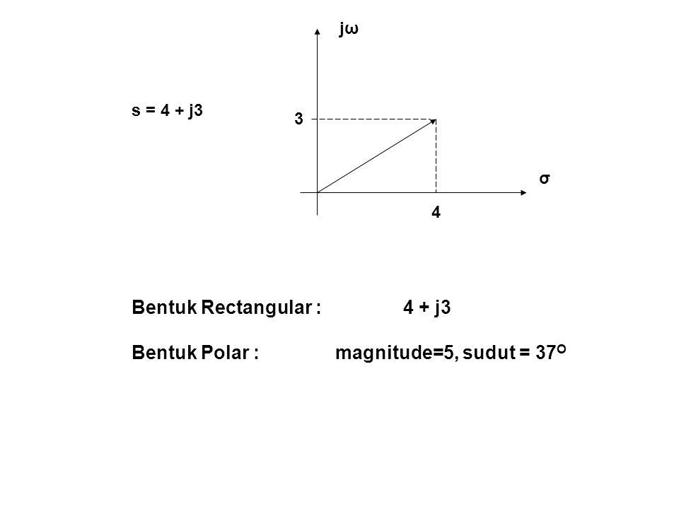 Bentuk Rectangular : 4 + j3 Bentuk Polar : magnitude=5, sudut = 37O