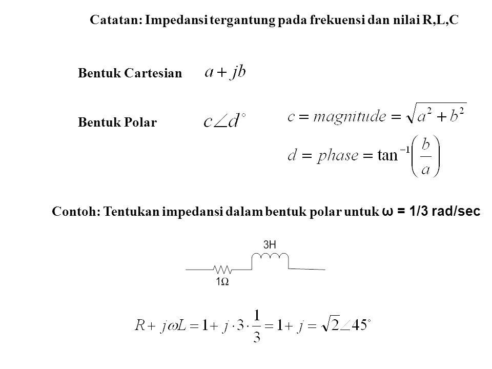 Catatan: Impedansi tergantung pada frekuensi dan nilai R,L,C