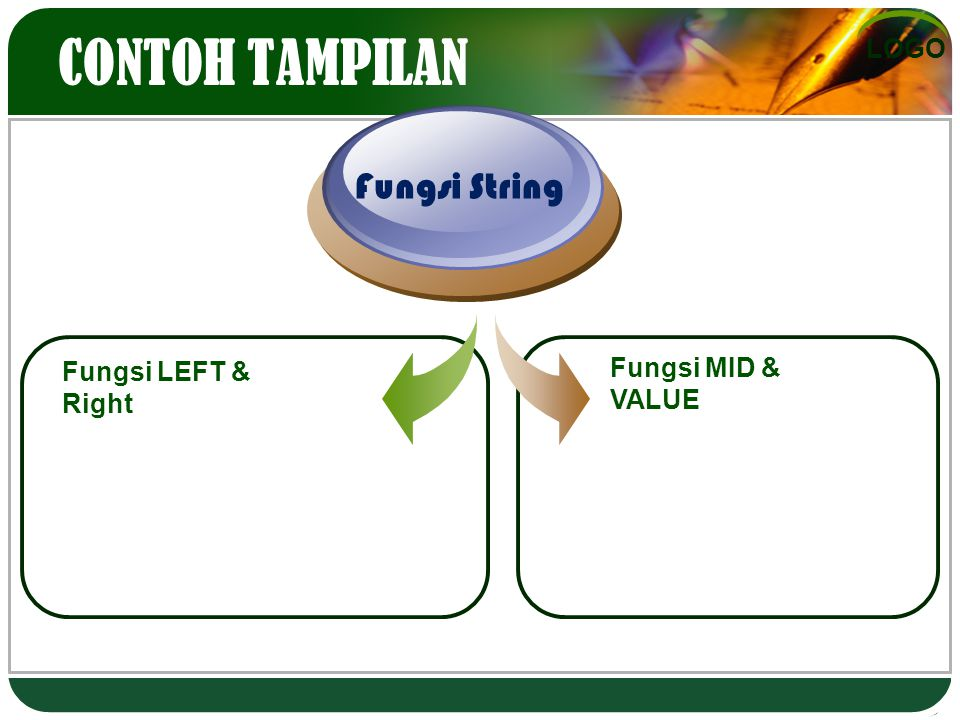 CONTOH TAMPILAN Fungsi String Fungsi LEFT & Right Fungsi MID & VALUE