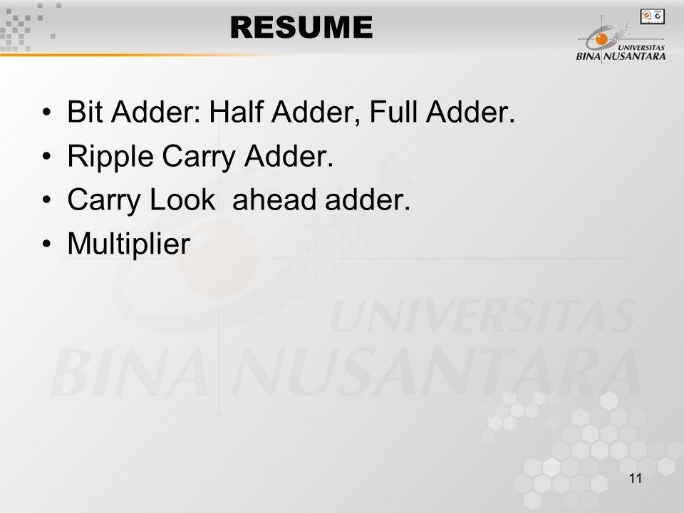 RESUME Bit Adder: Half Adder, Full Adder. Ripple Carry Adder. Carry Look ahead adder. Multiplier