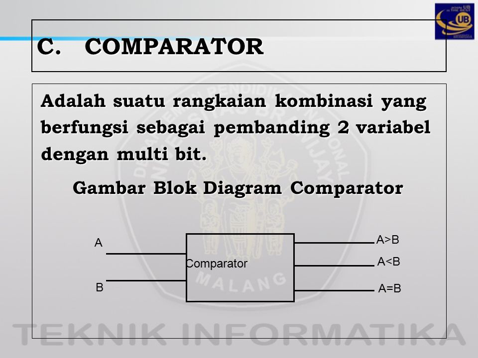 C. COMPARATOR Adalah suatu rangkaian kombinasi yang berfungsi sebagai pembanding 2 variabel dengan multi bit. Gambar Blok Diagram Comparator
