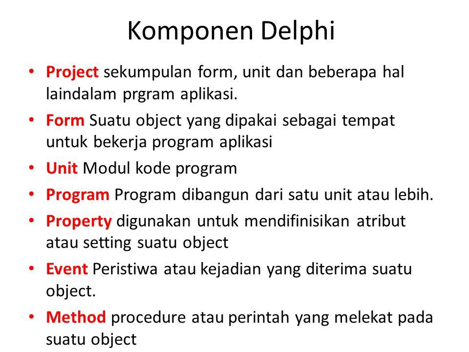 Komponen Delphi Project sekumpulan form, unit dan beberapa hal laindalam prgram aplikasi.