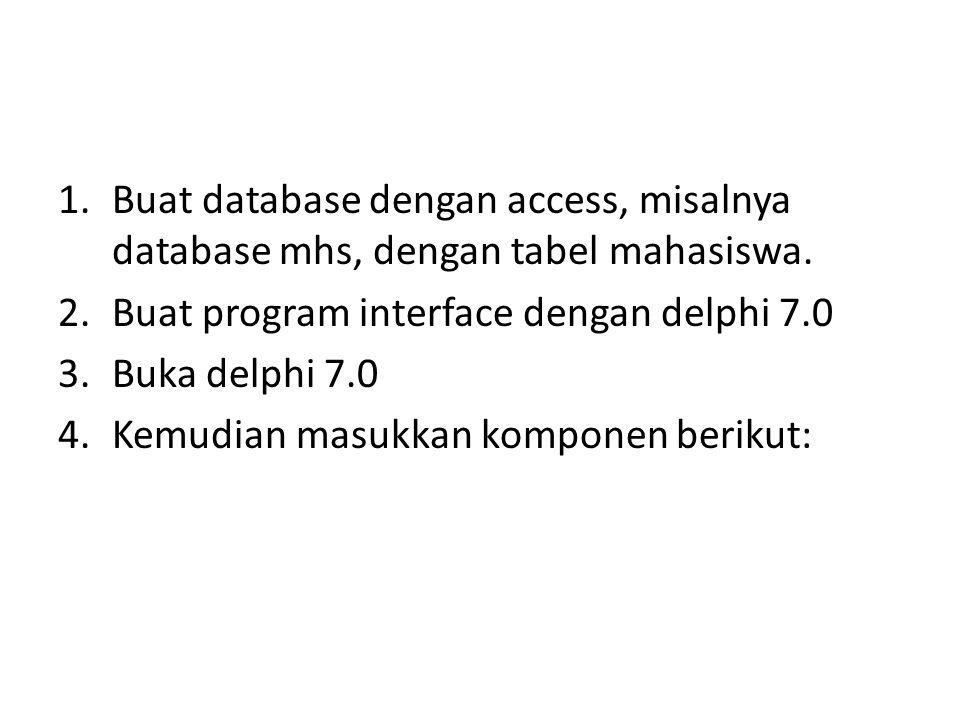 Buat database dengan access, misalnya database mhs, dengan tabel mahasiswa.