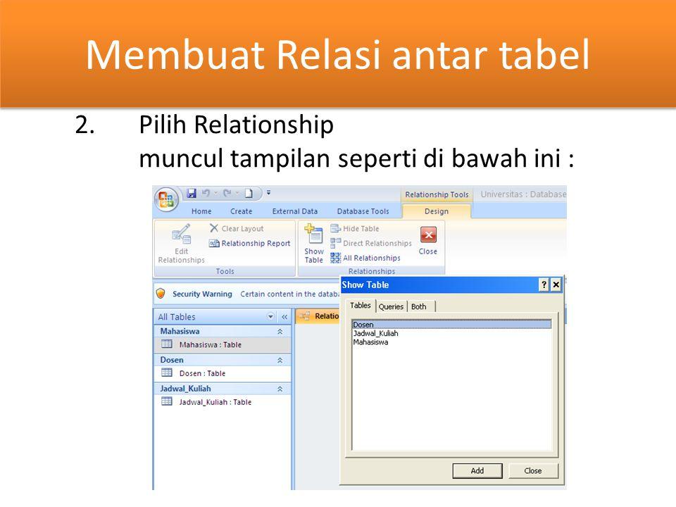 Membuat Relasi antar tabel