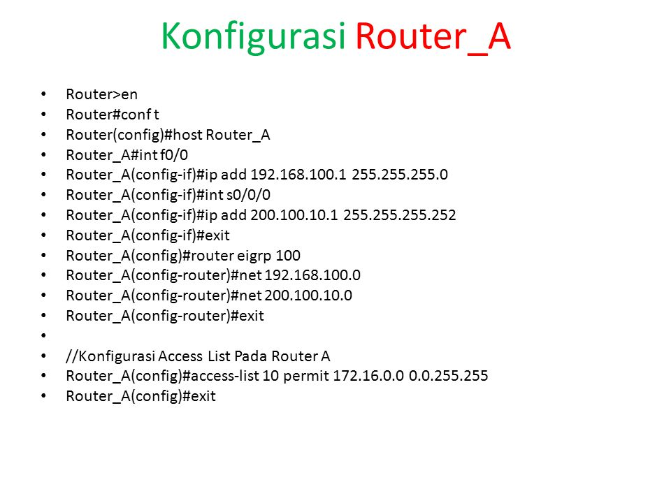 Konfigurasi Router_A Router>en Router#conf t