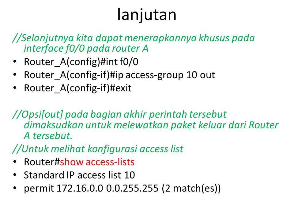 lanjutan //Selanjutnya kita dapat menerapkannya khusus pada interface f0/0 pada router A. Router_A(config)#int f0/0.