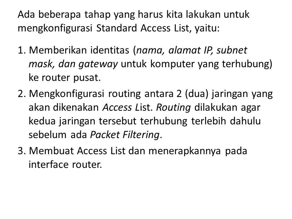 Ada beberapa tahap yang harus kita lakukan untuk mengkonfigurasi Standard Access List, yaitu: