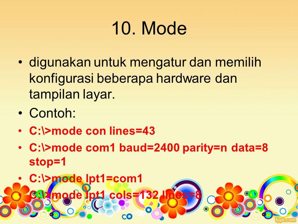 10. Mode digunakan untuk mengatur dan memilih konfigurasi beberapa hardware dan tampilan layar. Contoh: