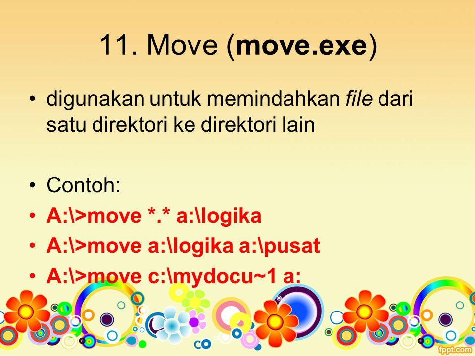 11. Move (move.exe) digunakan untuk memindahkan file dari satu direktori ke direktori lain. Contoh: