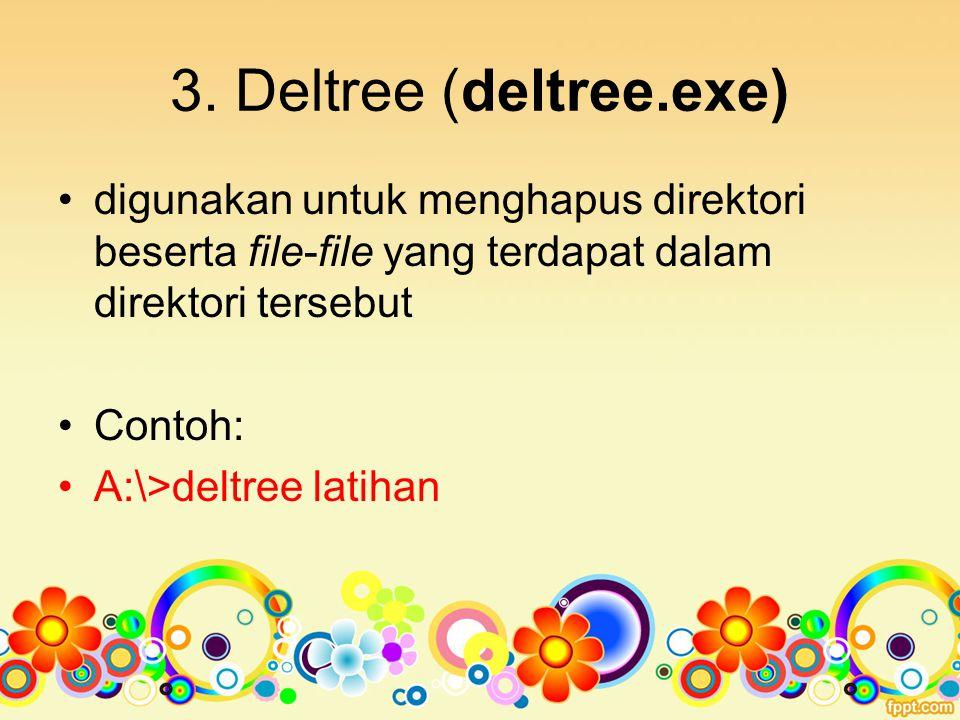 3. Deltree (deltree.exe) digunakan untuk menghapus direktori beserta file-file yang terdapat dalam direktori tersebut.