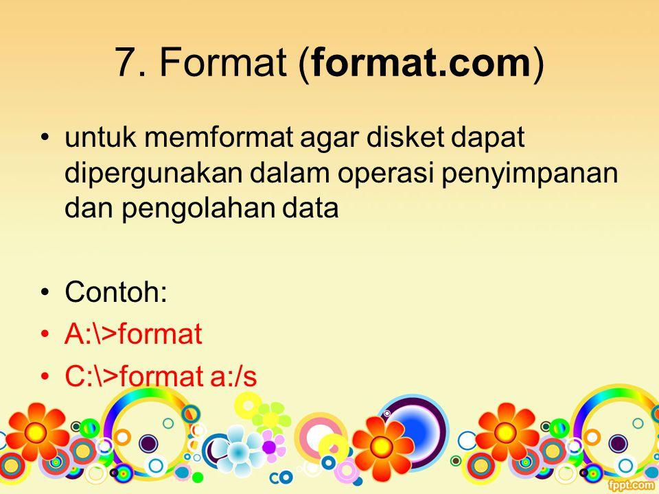 7. Format (format.com) untuk memformat agar disket dapat dipergunakan dalam operasi penyimpanan dan pengolahan data.