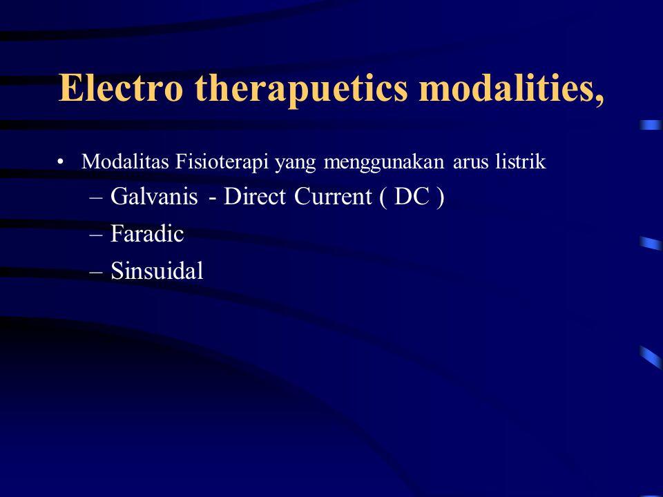Electro therapuetics modalities,