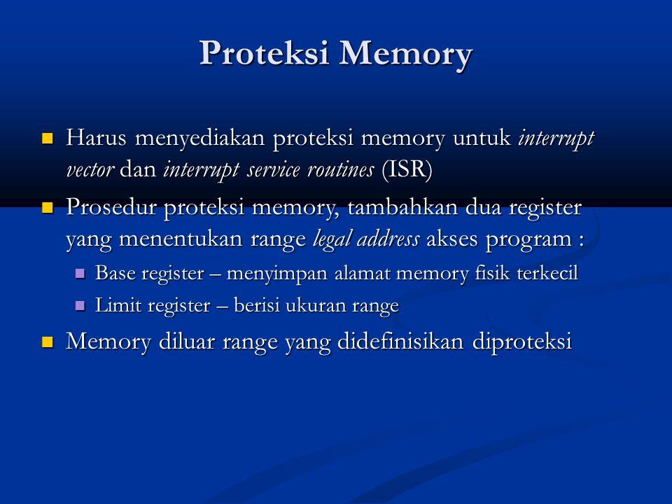 Proteksi Memory Harus menyediakan proteksi memory untuk interrupt vector dan interrupt service routines (ISR)