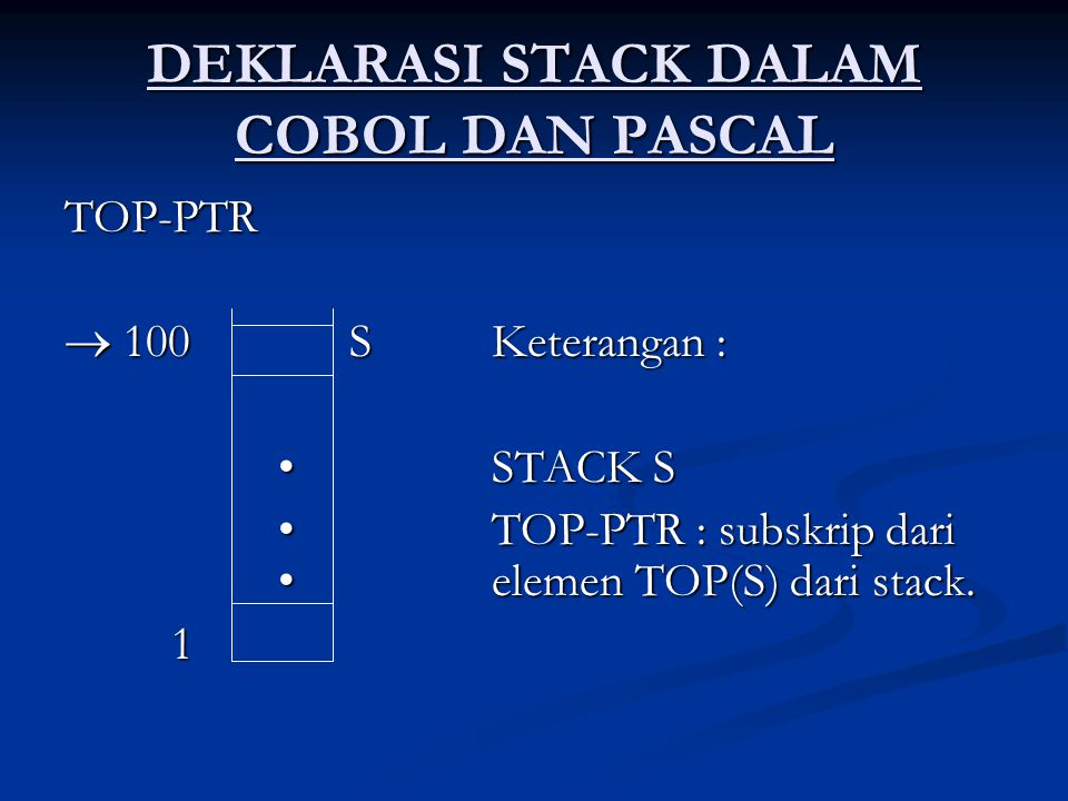 DEKLARASI STACK DALAM COBOL DAN PASCAL