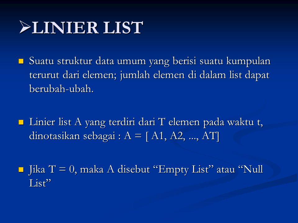 LINIER LIST Suatu struktur data umum yang berisi suatu kumpulan terurut dari elemen; jumlah elemen di dalam list dapat berubah-ubah.
