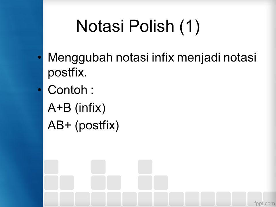 Notasi Polish (1) Menggubah notasi infix menjadi notasi postfix.