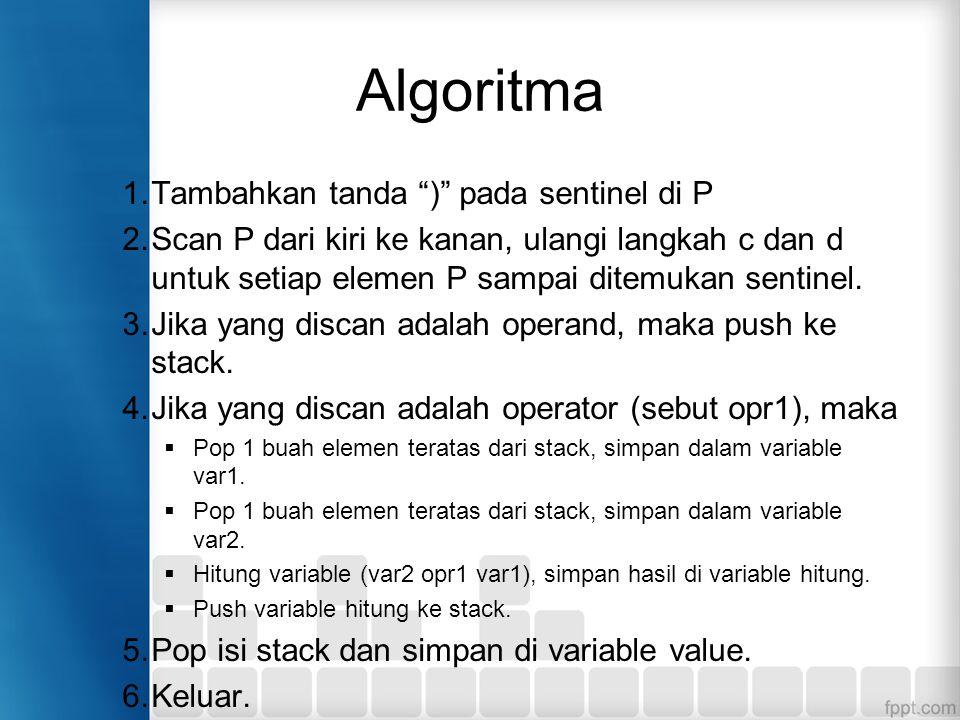 Algoritma Tambahkan tanda ) pada sentinel di P