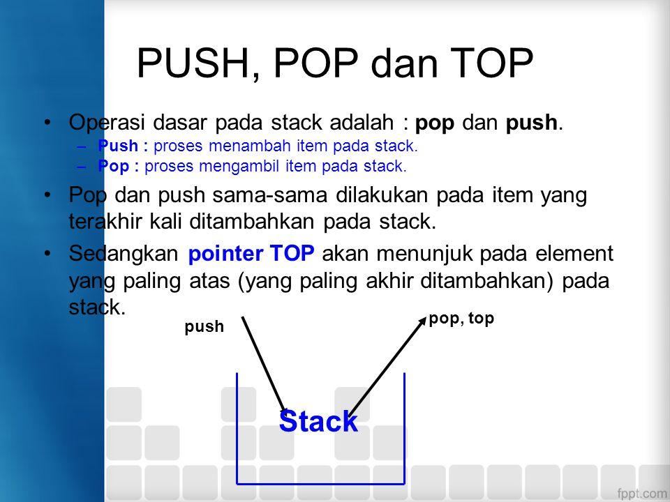 PUSH, POP dan TOP Operasi dasar pada stack adalah : pop dan push. Push : proses menambah item pada stack.