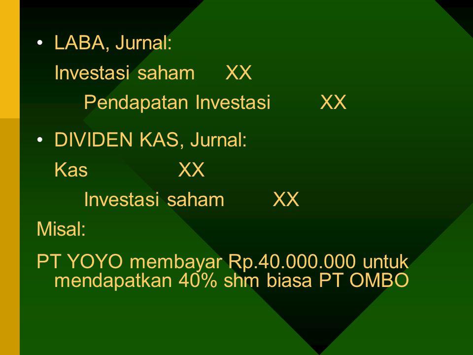 LABA, Jurnal: Investasi saham XX. Pendapatan Investasi XX. DIVIDEN KAS, Jurnal: Kas XX. Misal: