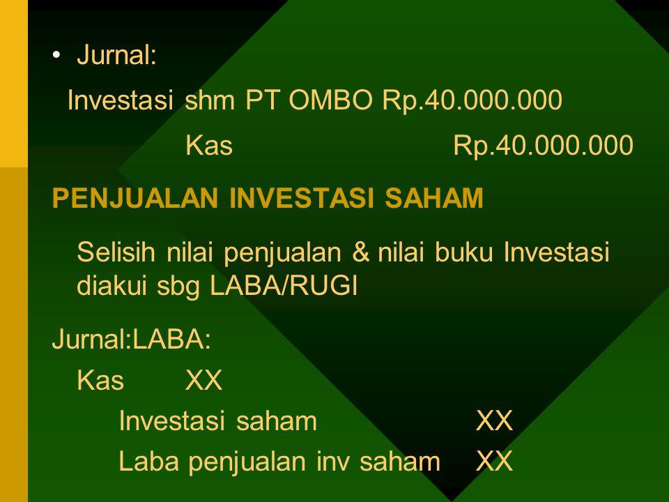 Jurnal: Investasi shm PT OMBO Rp.40.000.000. Kas Rp.40.000.000. PENJUALAN INVESTASI SAHAM.
