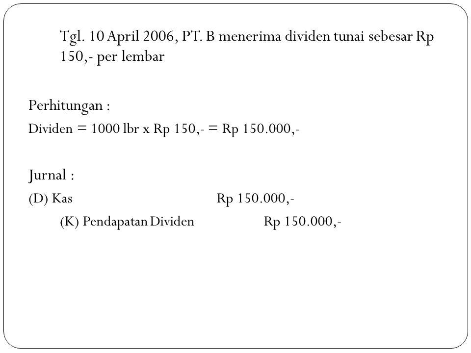 Tgl. 10 April 2006, PT. B menerima dividen tunai sebesar Rp 150,- per lembar