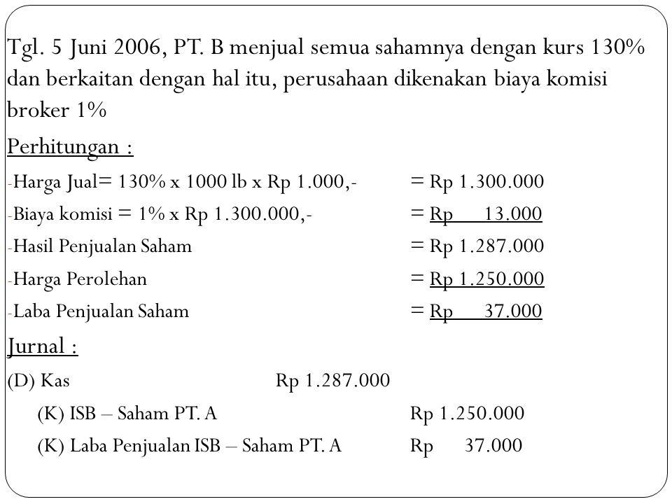Tgl. 5 Juni 2006, PT. B menjual semua sahamnya dengan kurs 130% dan berkaitan dengan hal itu, perusahaan dikenakan biaya komisi broker 1%