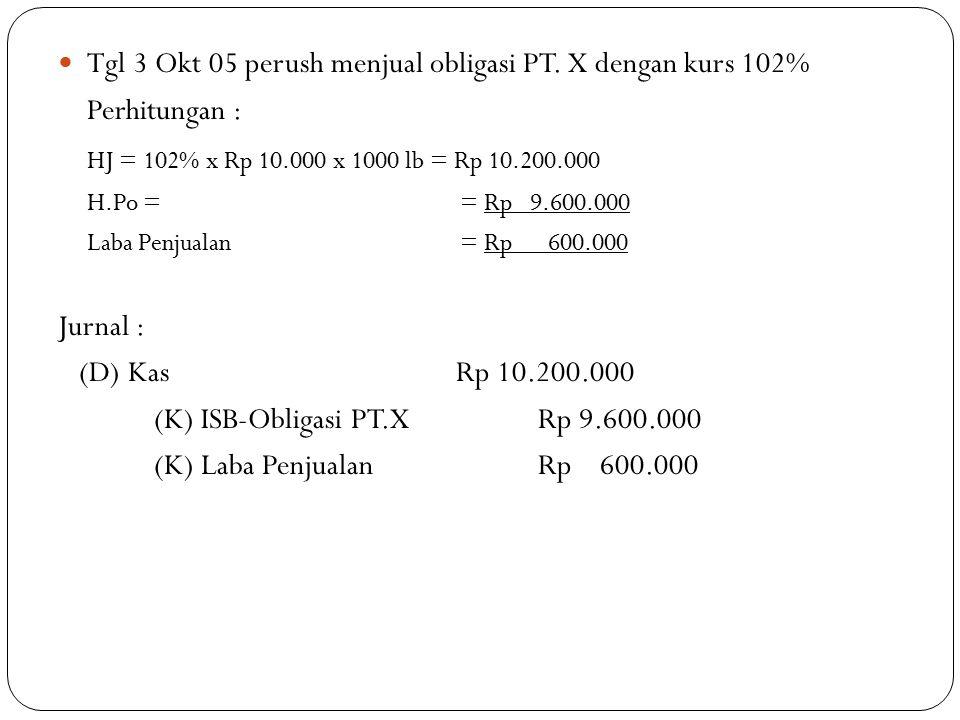 Tgl 3 Okt 05 perush menjual obligasi PT. X dengan kurs 102%