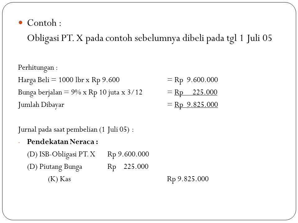 Obligasi PT. X pada contoh sebelumnya dibeli pada tgl 1 Juli 05