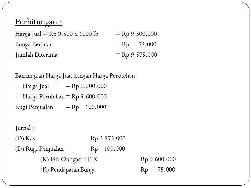 Perhitungan : Harga Jual = Rp 9.500 x 1000 lb = Rp 9.500.000