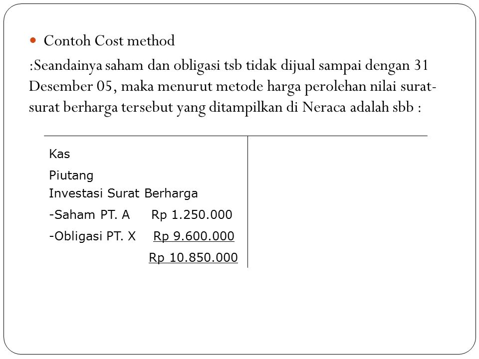 Contoh Cost method