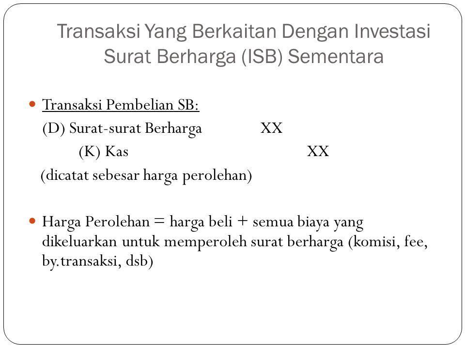 Transaksi Yang Berkaitan Dengan Investasi Surat Berharga (ISB) Sementara