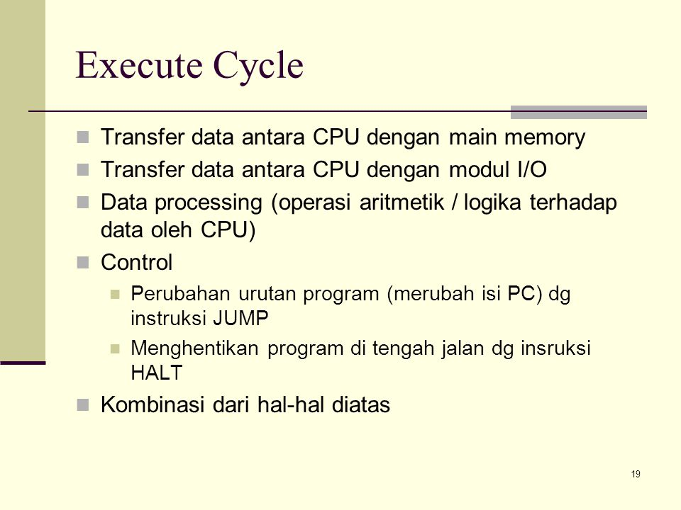 Execute Cycle Transfer data antara CPU dengan main memory