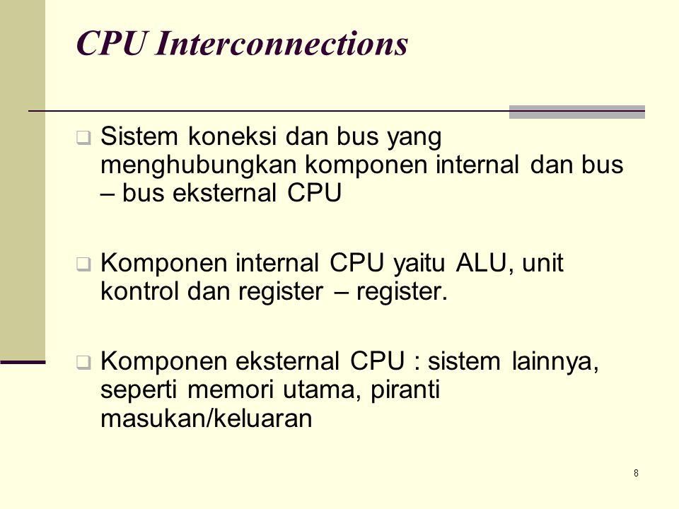 CPU Interconnections Sistem koneksi dan bus yang menghubungkan komponen internal dan bus – bus eksternal CPU.