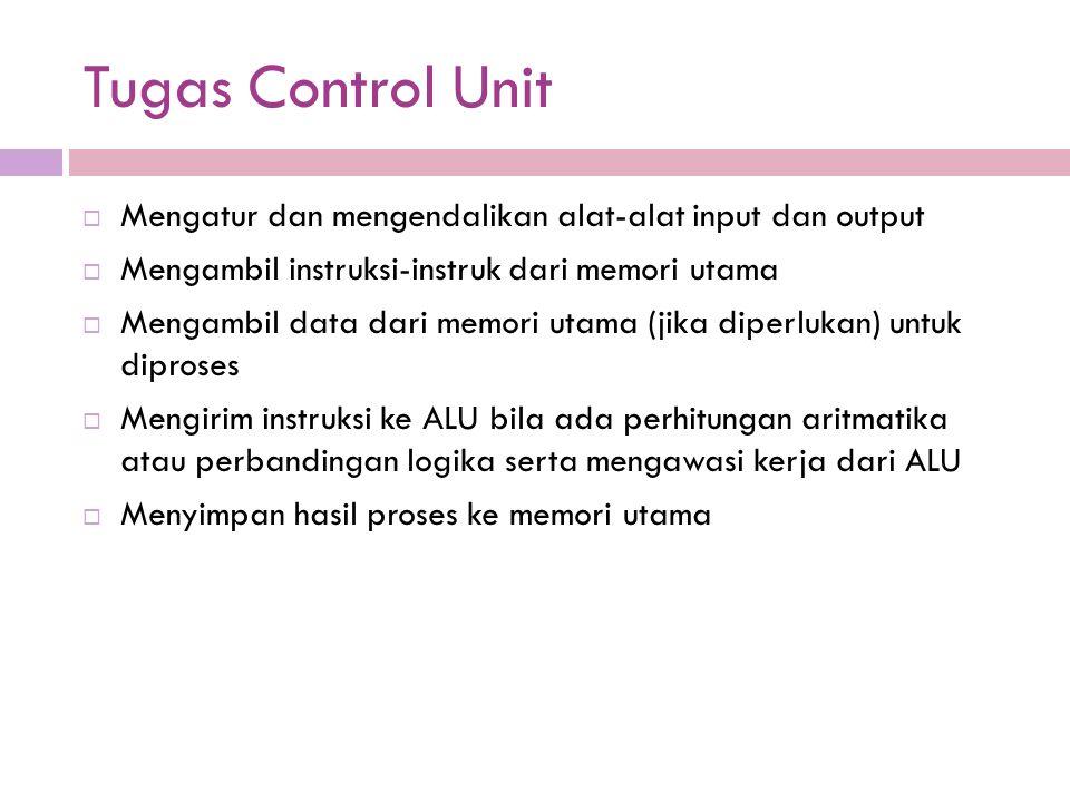 Tugas Control Unit Mengatur dan mengendalikan alat-alat input dan output. Mengambil instruksi-instruk dari memori utama.