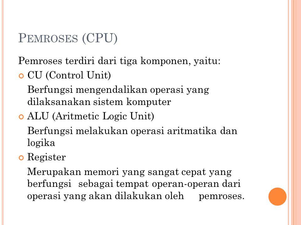 Pemroses (CPU) Pemroses terdiri dari tiga komponen, yaitu: