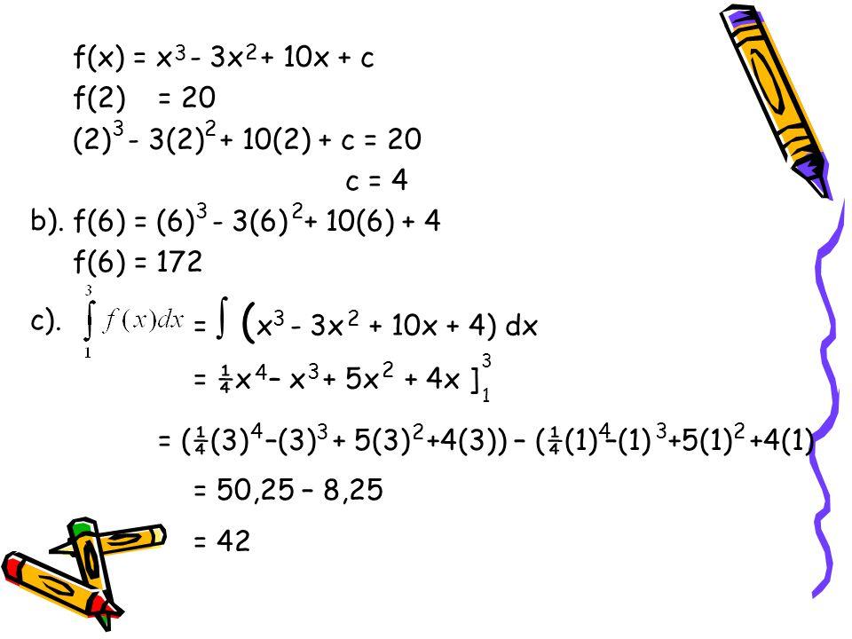 = (¼(3) –(3) + 5(3) +4(3)) – (¼(1) –(1) +5(1) +4(1)