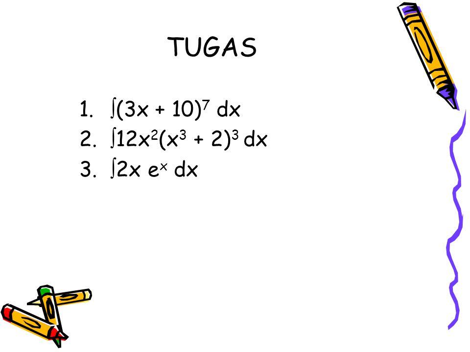 TUGAS (3x + 10)7 dx 12x2(x3 + 2)3 dx 2x ex dx