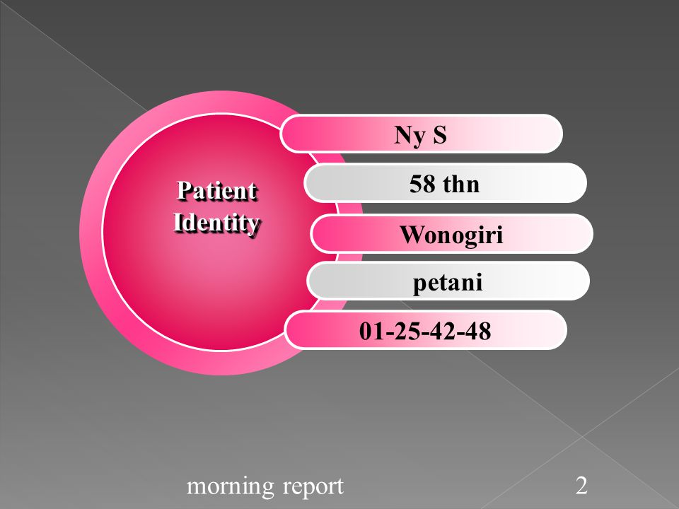 Ny S 58 thn Wonogiri petani 01-25-42-48 Patient Identity morning report