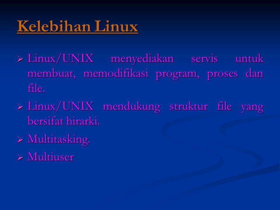 Kelebihan Linux Linux/UNIX menyediakan servis untuk membuat, memodifikasi program, proses dan file.