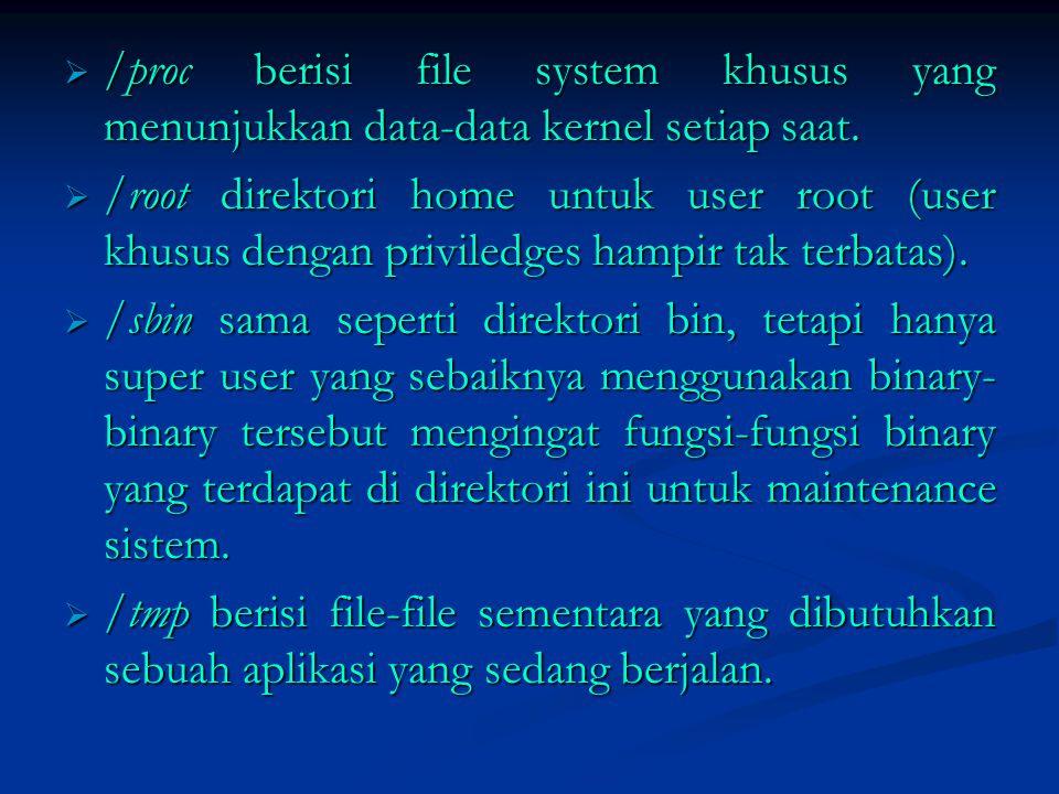 /proc berisi file system khusus yang menunjukkan data-data kernel setiap saat.