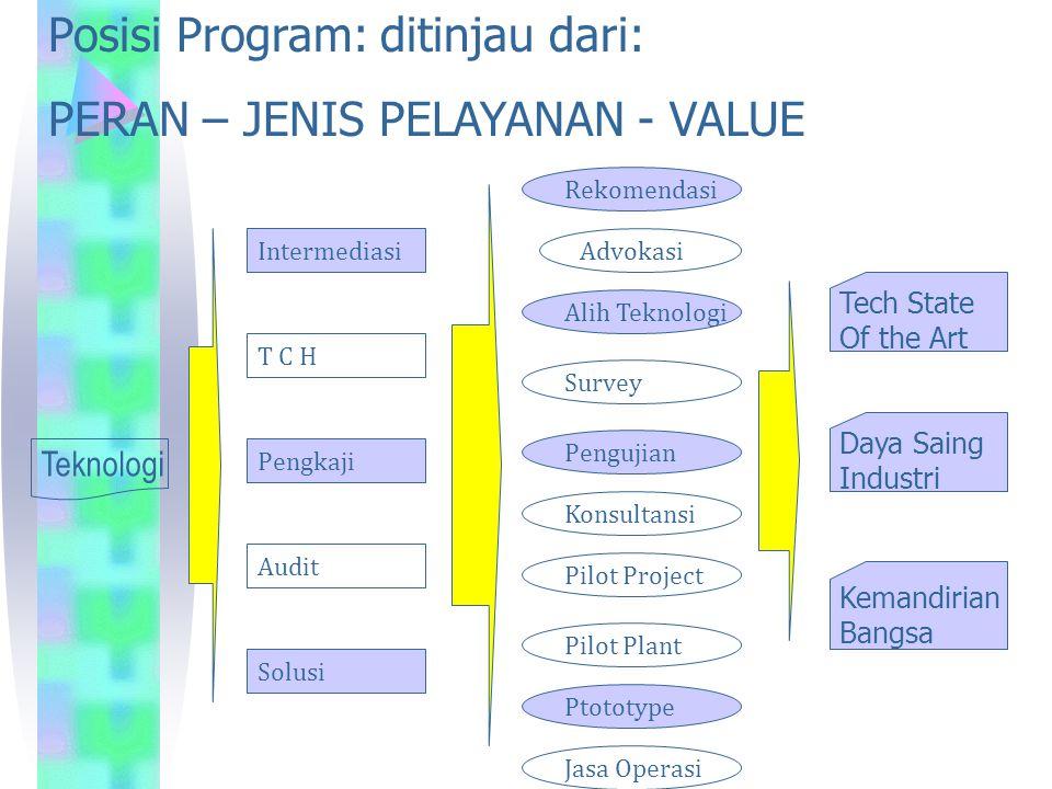 Posisi Program: ditinjau dari: PERAN – JENIS PELAYANAN - VALUE