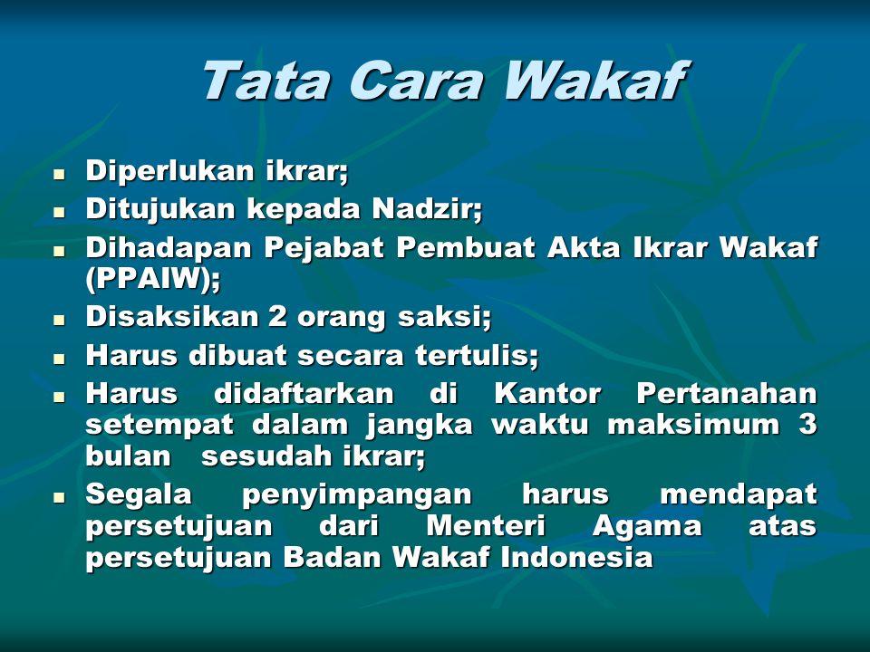 Tata Cara Wakaf Diperlukan ikrar; Ditujukan kepada Nadzir;