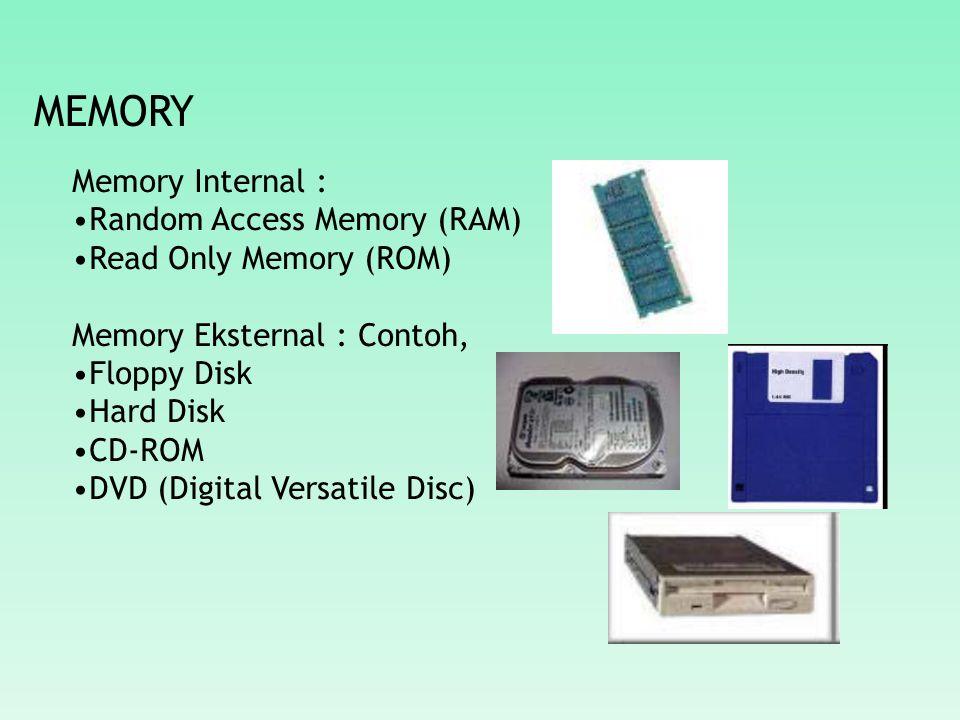 MEMORY Memory Internal : Random Access Memory (RAM)