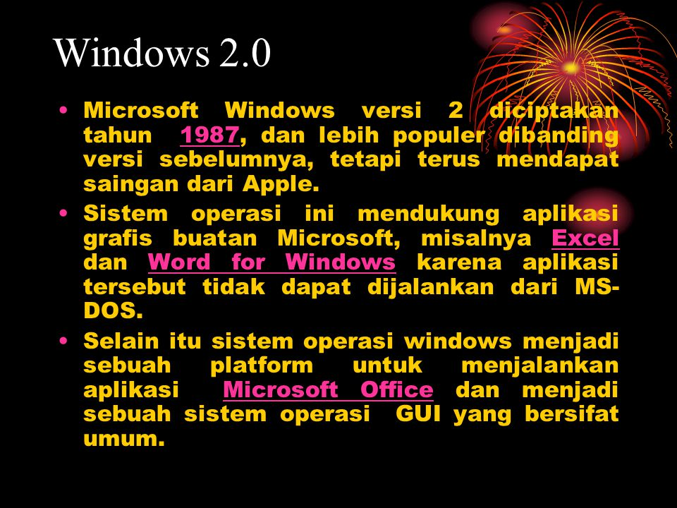 Windows 2.0 Microsoft Windows versi 2 diciptakan tahun 1987, dan lebih populer dibanding versi sebelumnya, tetapi terus mendapat saingan dari Apple.