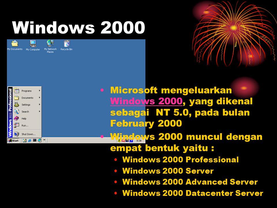 Windows 2000 Microsoft mengeluarkan Windows 2000, yang dikenal sebagai NT 5.0, pada bulan February 2000.
