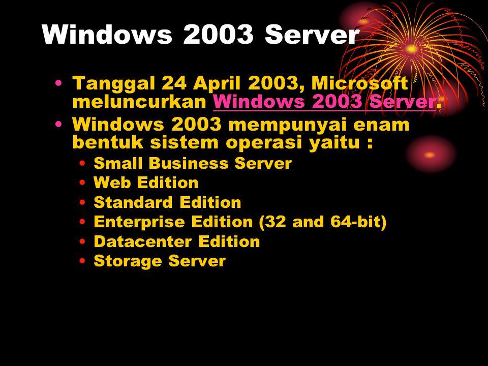 Windows 2003 Server Tanggal 24 April 2003, Microsoft meluncurkan Windows 2003 Server. Windows 2003 mempunyai enam bentuk sistem operasi yaitu :
